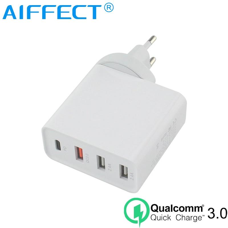 AIFFECT 48W 4 Portas USB Carregador Universal de Carga Rápida 3.0 Rápido Inteligente Mobile Phone Charger Plug DA UE Para iphone ipad samsung