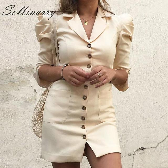 Sollinarry mode Mini robe femmes 2019 manches bouffantes boutons de fête robe Sexy dames col rond femme Vintage robe Vestidos