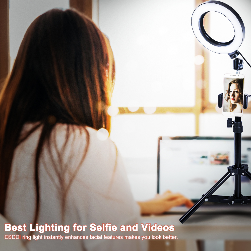 cheapest AZiMiYO LED Selfie Ring Light Dimmable Camera Phone Ring Lamp Tripod Stand Photographic Lighting for Youtube video live