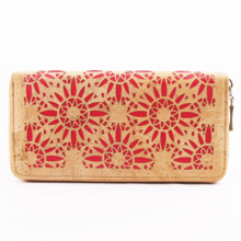 Laser Cut Red Floral Natural Cork Wallet Gift Women Wallet for Vegan rustic natural cork wallet for men cork vegan handmade casual wooden eco wallet from portugal bag 200