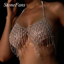 Stonefans Sexy Full Rhinestone Bralette Top Jewelry for Women Bling Ab Crystal Necklace Body Chain B