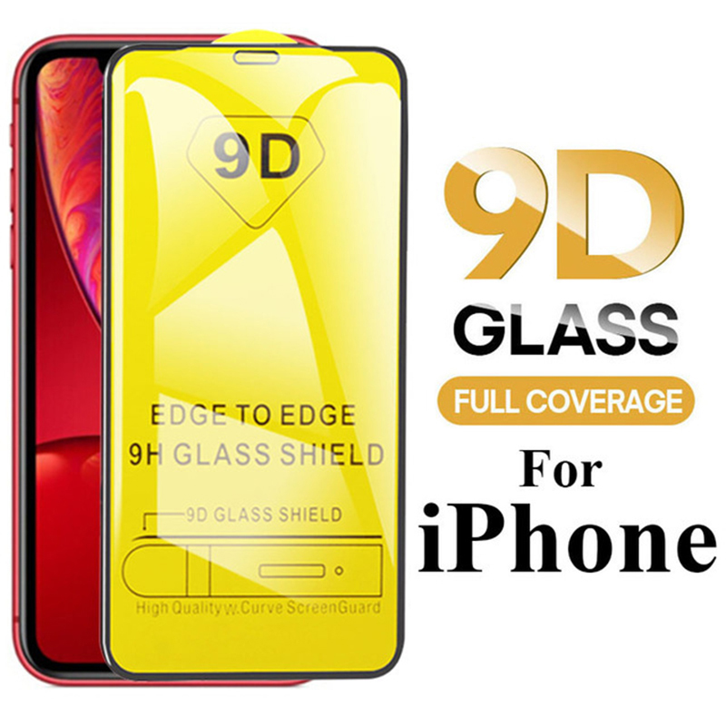 9D Tempered Glass For IPhone 11 Pro Max 2019 X XS MAX XR 7 8 6 6S Plus 5 5S SE 11 Pro Max Full Cover Screen Protector Protective