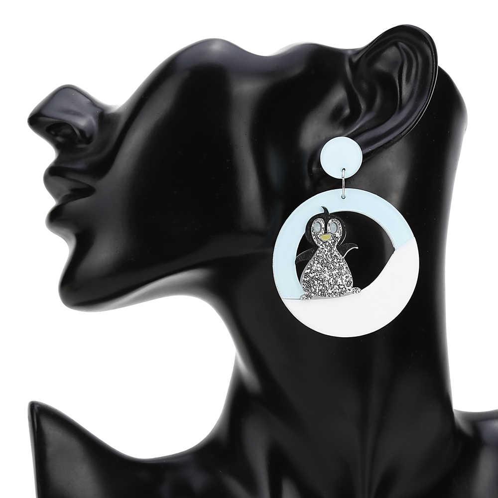 YAOLOGE موضة شتاء أكريليك لطيف البطريق أقراط كبيرة للنساء بيان طويل إسقاط أقراط نادي الحفلات مجوهرات هدايا 2019