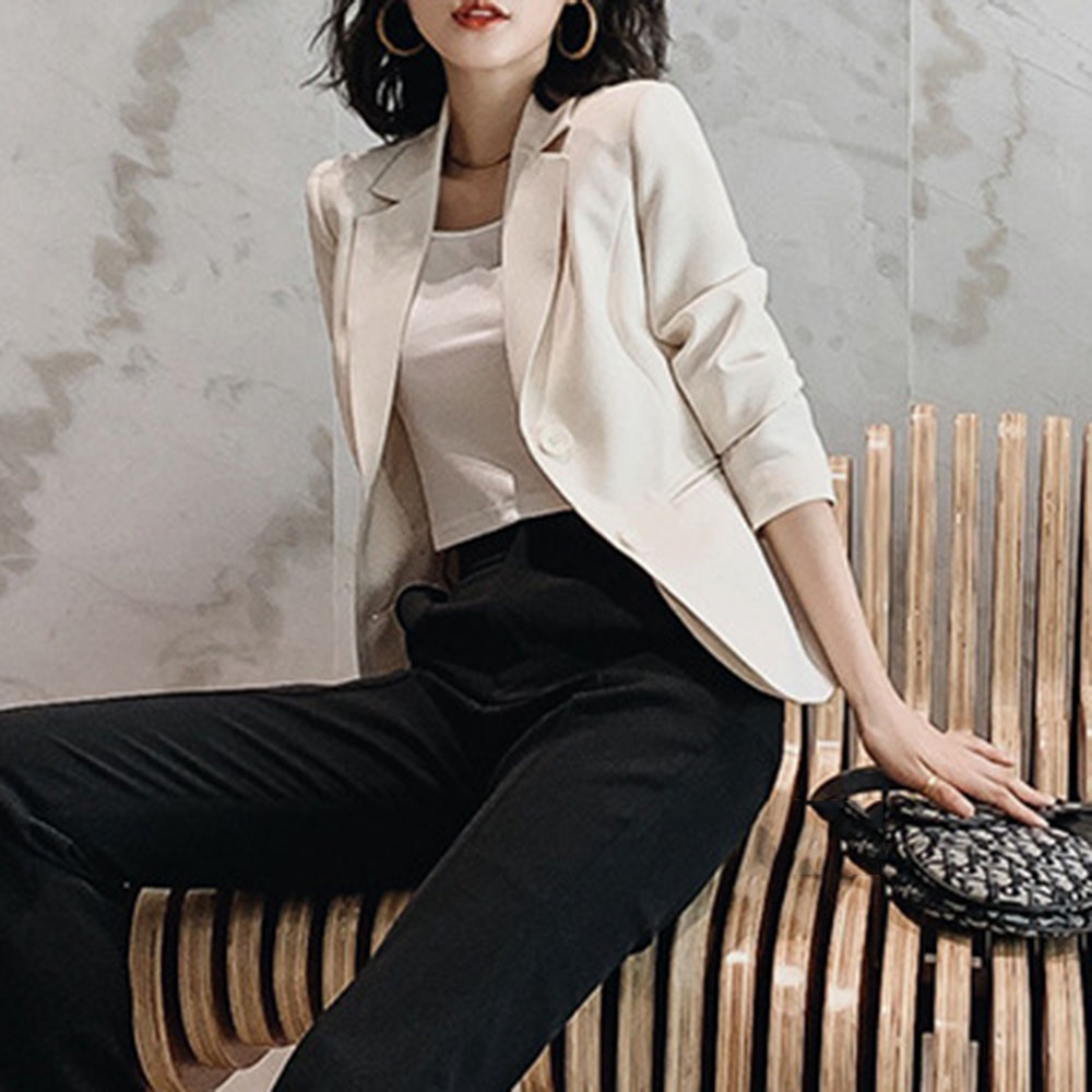 HOT 2020 Gray Casual Blazer Jacket Women Casual Streetwear Young Girl Office Blazers Fashion Black Jackets Coat Work Basic Tops