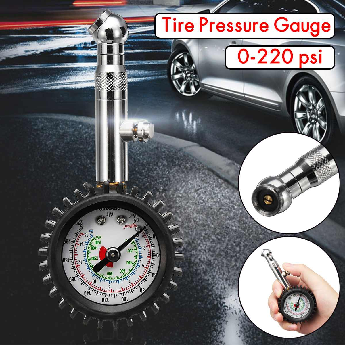 220PSI Tire Tyre Air Pressure Gauge Dial Meter For Auto Car Vehicle Motorcycle Motorbike Automobile