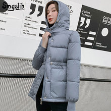 2019 women's winter jacket slim parkas loose thick warm hooded jackets solid big