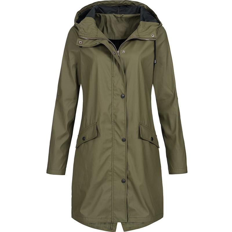 Woman Classic Trench Coat Waterproof Outerwear Raincoat Ladies Fashion Long Sleeve Hooded Windbreaker Hiking Coats