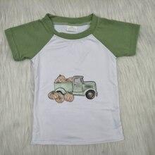 Toddles menino roupas caminhão verde manga curta crianças topo