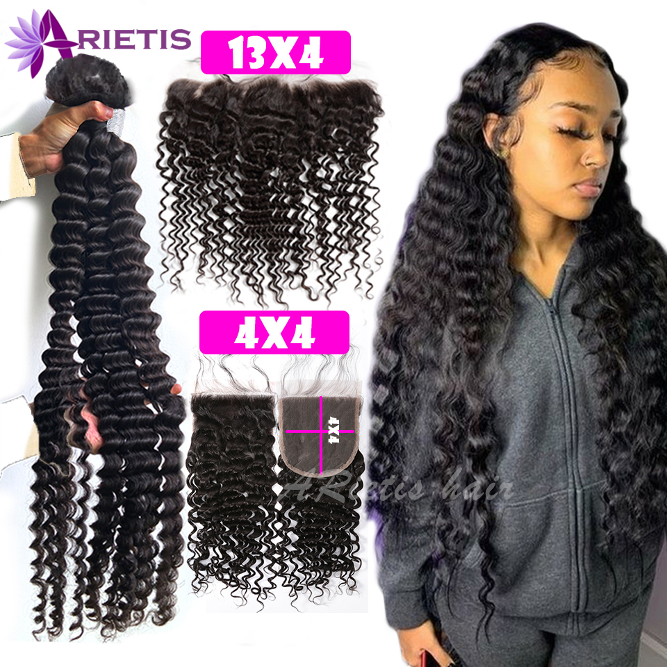 32 34 36 38 40 inch Deep Wave Bundles With Closure Brazilian Remy Human Hair Bundles With Frontal Water Curly & 4x4 Lace Closure