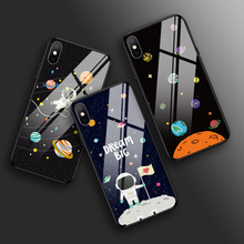 Black Tempered Glass Phone Cases for iPhone X XS MAX XR 7 8 PLUS for iPhone 6 6S PLUS 5 5S SE Glossy Universe Planet Back Covers black cover japanese samurai for iphone x xr xs max for iphone 8 7 6 6s plus 5s 5 se super bright glossy phone case