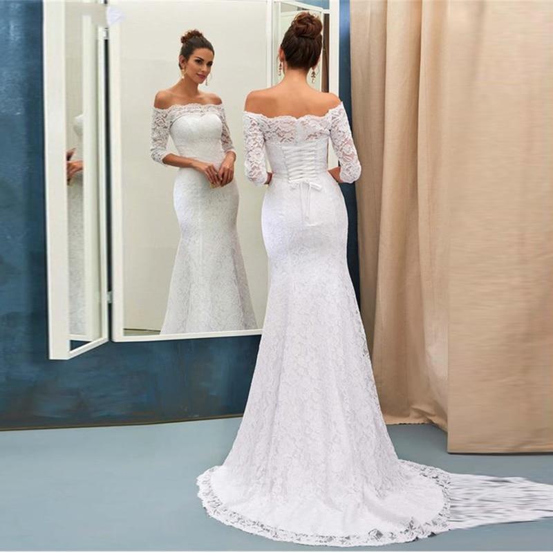 3/4 Sleeve Lace Mermaid Wedding Dress 2019 Back Lace Up Corset Wedding Gown Sexy Backless Princess Bridal Dresses Boho Plus Size