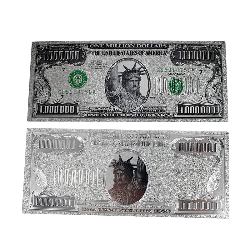 Hot one Million Dollar Silver Foil Banknote USD1000000 Statue of Liberty For Collection