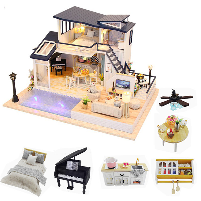 Big Doll House Kitchen Wooden Two Layer Dollhouse Kit Swimming Pool Brinquedos Para Criancas Doll House Garden Miniatures Large