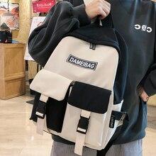 Nylon Backpack Black White Panelled School-Bag Matching Teenage-Girls HOCOOD Mult-Pockets