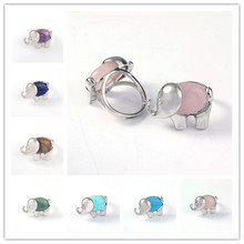 FYJS Unique Jewelry Silver Plated Elephant Shape Resizable Amethysts Stone Ring Green Aventurine