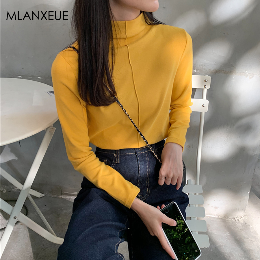 Autumn Winter Thicken Turtleneck Sweaters Women Solid Long Sleeve Knitted Pullover Tops Female Korean Slim Bottoming Blouses Top