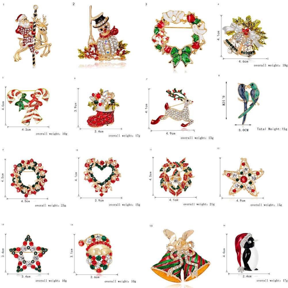 Venda quente criativo natal pino presentes papai noel árvores de natal sapato chapéu meia strass broches para as mulheres presente emblemas broche
