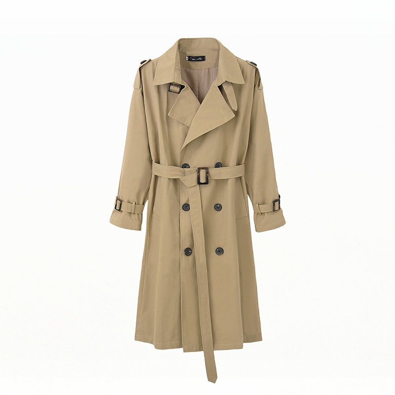Liva girl women casual solid color double breasted outwear fashion sashes office coat chic epaulet design long   trench