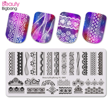 Beautybigbang Lace Sexy Style Nail Stamping Plates for Polish Art Stencil Template Plate carimbo de unha