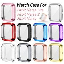 Koruyucu kılıf Fitbit Versa için Lite / Versa 2 / Versa TPU kapak tampon ekran koruyucu akıllı saat kabuk aksesuarları