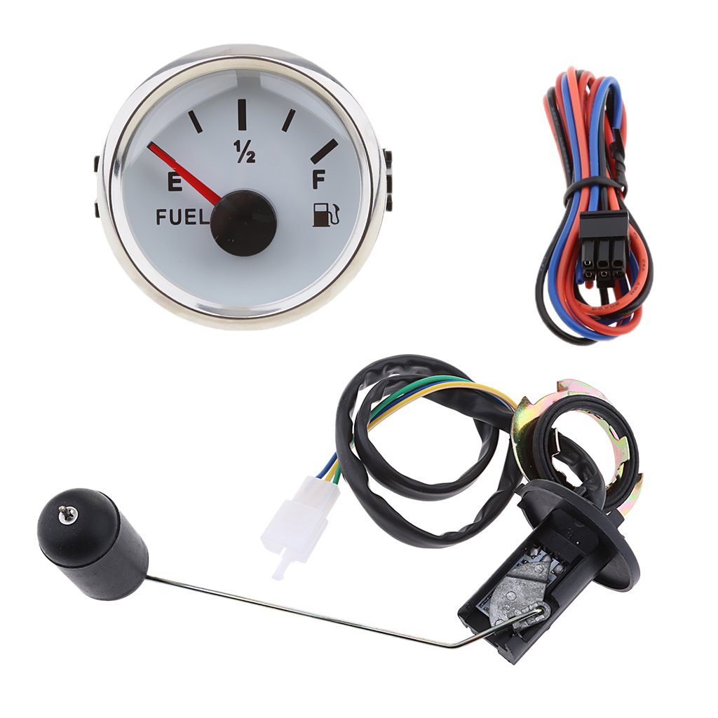 2 Inch 52mm 9-32V Pointer Fuel Tank Level Gauge Meter Indicator 0-190ohm With Sensor Kit - Waterproof - White