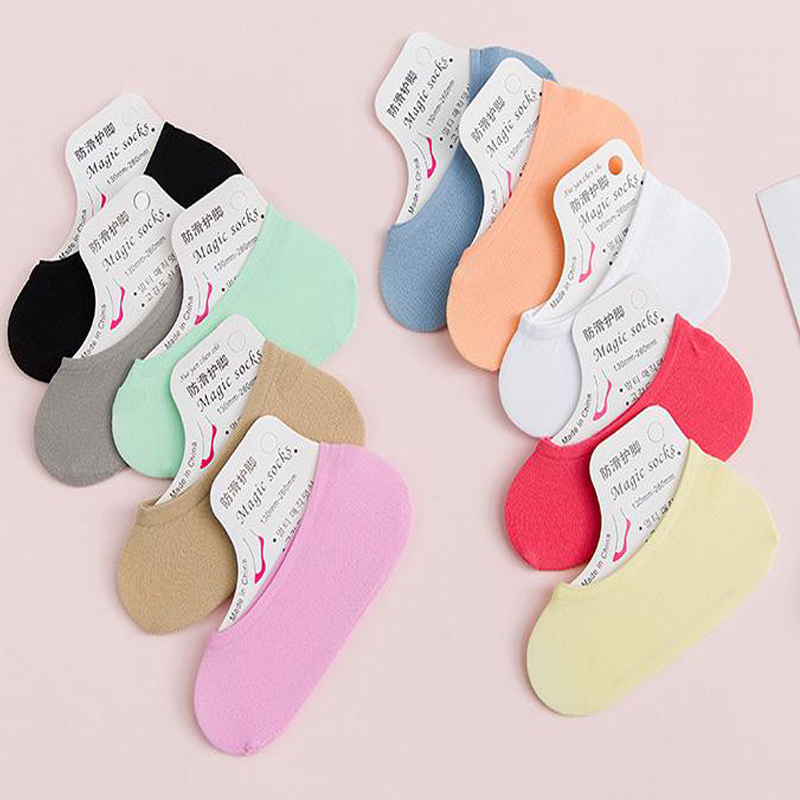 1 Pair Funny Short Socks Ultra-thin Candy Color Original Soft Fashion Retro Casual Socks Antiskid Invisible Ankle Sock