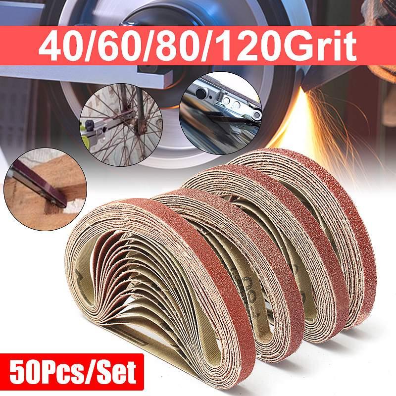 50PCS 40/60/100/120 Grit Sanding Belts Metal Grinding Aluminium Bands Polisher Oxide Sander 10 X 330 Mm
