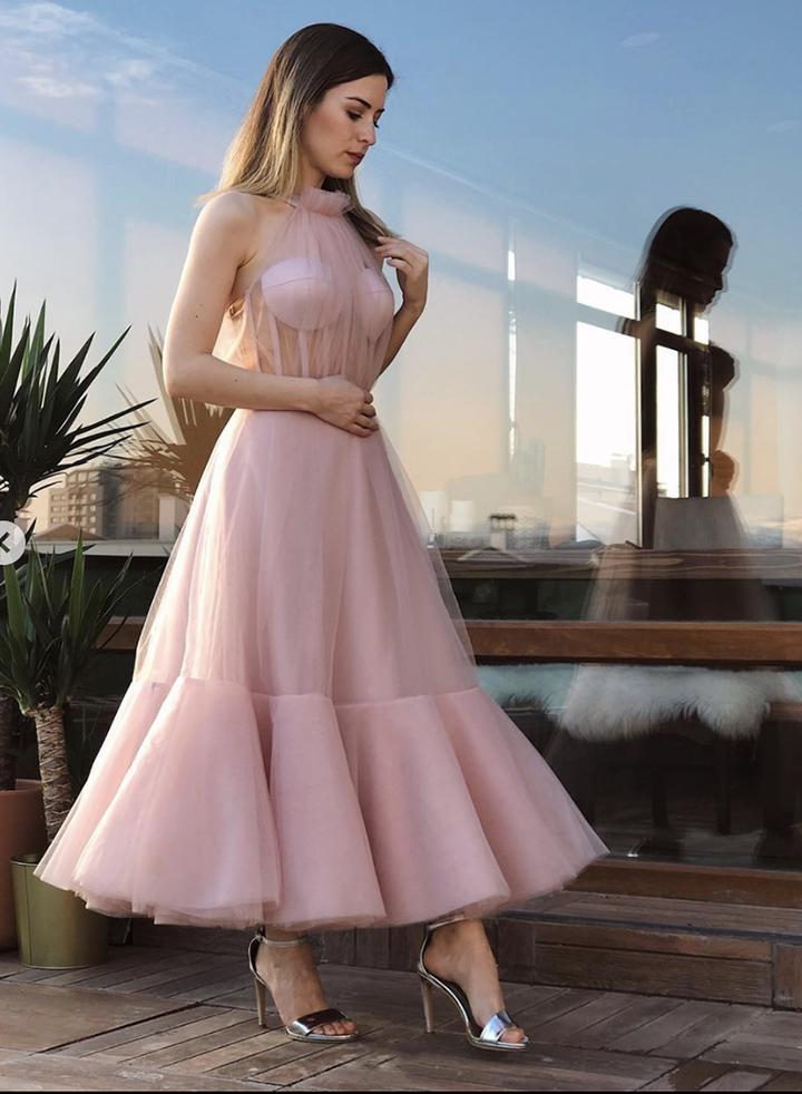 Elegant Prom Dressses Pink Tulle Ankle Length High Neck Illusion Sleeveless A Line Evening Gown vestido de graduacion largo