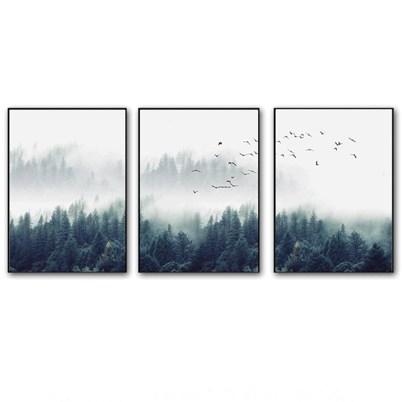 Forest Lanscape Wall Art Canvas Poster Print Nordic Decoration Painting Decorative Picture for Living Room Home Decor Craft
