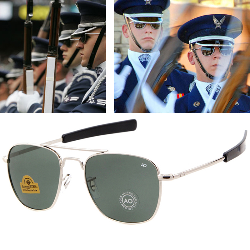 Men luxury Brand Designer Sun Glasses Vintage fashion Aviation AO Sunglasses For Male American Army Military Optical Glass Lens image