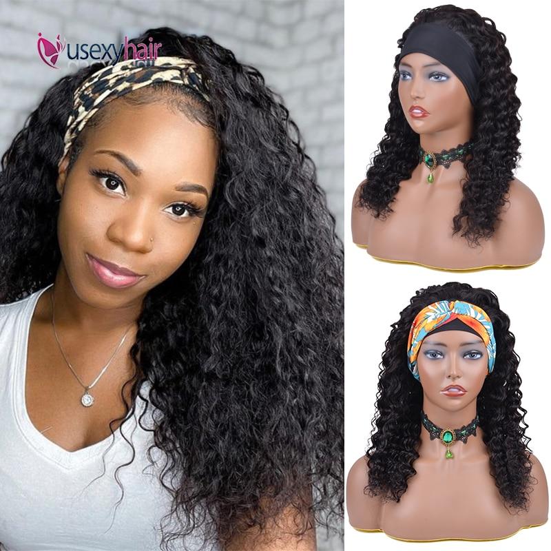 Headband Wig Human Hair 28 30 Inch Kinky Curly Full Machine Made Wigs No Gel Glueless Brazilian Remy Curly Human Hair Scarf Wigs