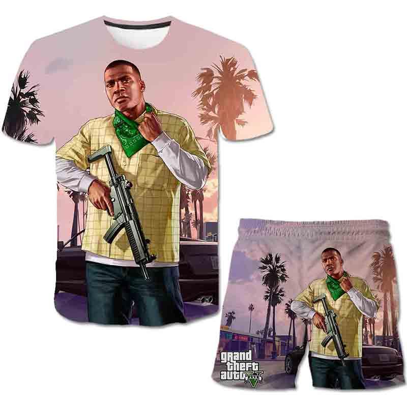 Baby Boys Girls Summer Grand Theft Auto 5 T-shirt Kid Cartoon Games Tops T Shirt Tshirt Size 4-14 Year Children Casual Clothing
