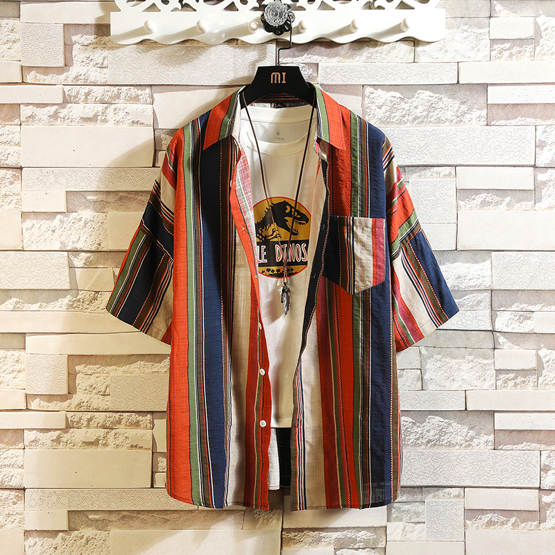 Hawaii Print Korea Style Short Sleeves Casual Men Shirt 2020 For Summer Clothes HIP HOP PUNK Streetwear