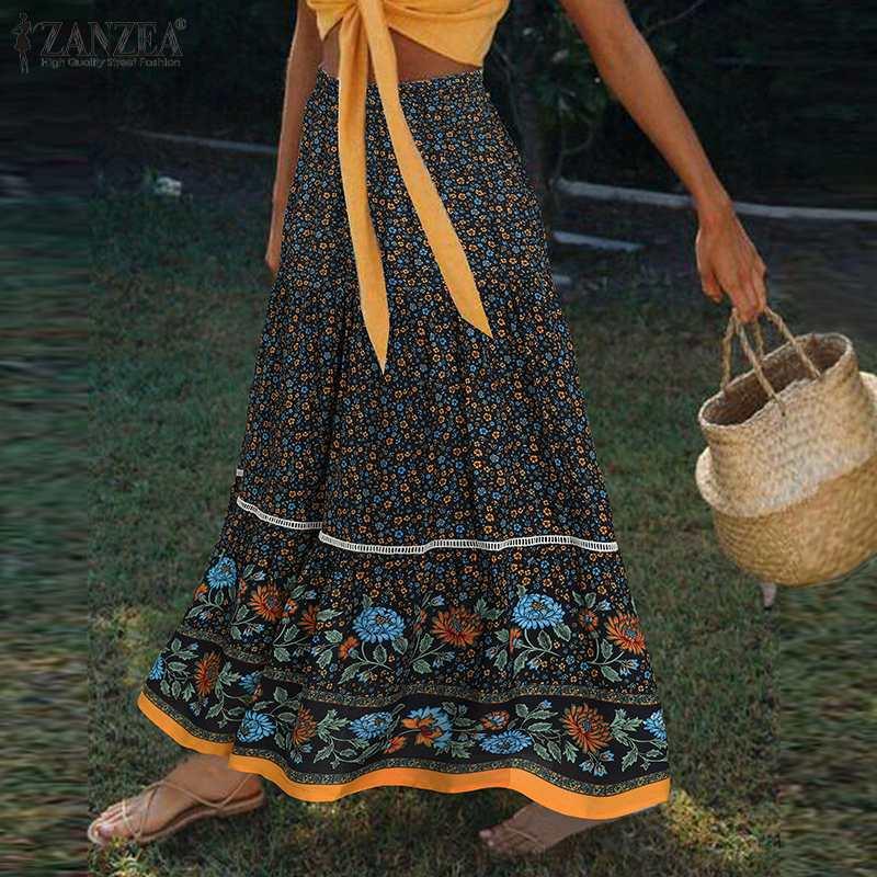 ZANZEA 2021 Fashion Summer Maxi Skirts Women's Printed Sundress Elastic High Waist Vestidos Female Casual Floral Ruffle Robe