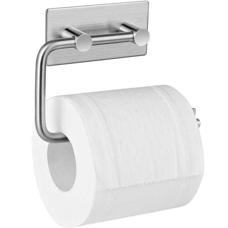 Ev ve Bahçe'ten Banyo Kancaları'de Rulo kağıt havlu tutucu rulo kağıt havlu tutucu sondaj olmadan kağıt tutucu kendinden yapışkanlı tuvalet kağıt rulo tutucu paslanmaz çelik Toi title=