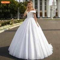 Elegant Boho Wedding Dress White Off Shoulder Bling Bling Tulle Ball Gown Bridal Dresses Long Robe De Mariee 2020 Vestido Novia