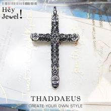 Bogato zdobiony krzyż wisiorek, 2021 Brand New Fine Jewelry Bijoux akcesoria 925 srebrny prezent dla kobiety mężczyźni bliscy