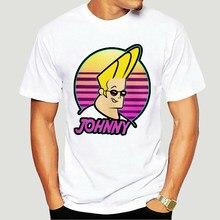 Johnny bravo onda t camisa masculina bonito 90s desenhos animados pop óculos dos desenhos animados do vintage camiseta de manga curta grande Size-5373A