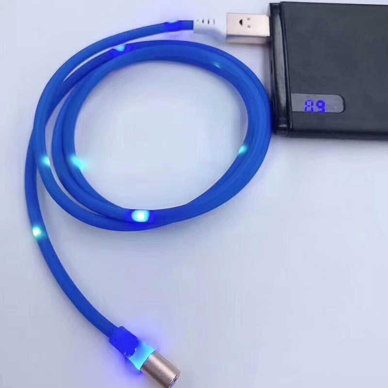 ประกายแสงแม่เหล็กสายชาร์จ Micro USB ประเภท C IOS Flow สำหรับ iPhone Samaung Huawei Universal LED