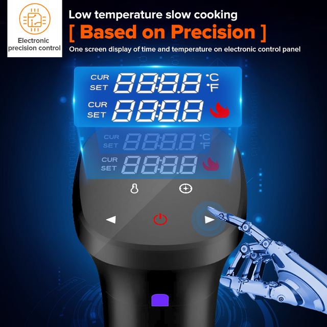 1800W Sous Vide Cooker Thermal Immersion Circulator Machine with Large Digital LCD Display Time and Temperature Control 2