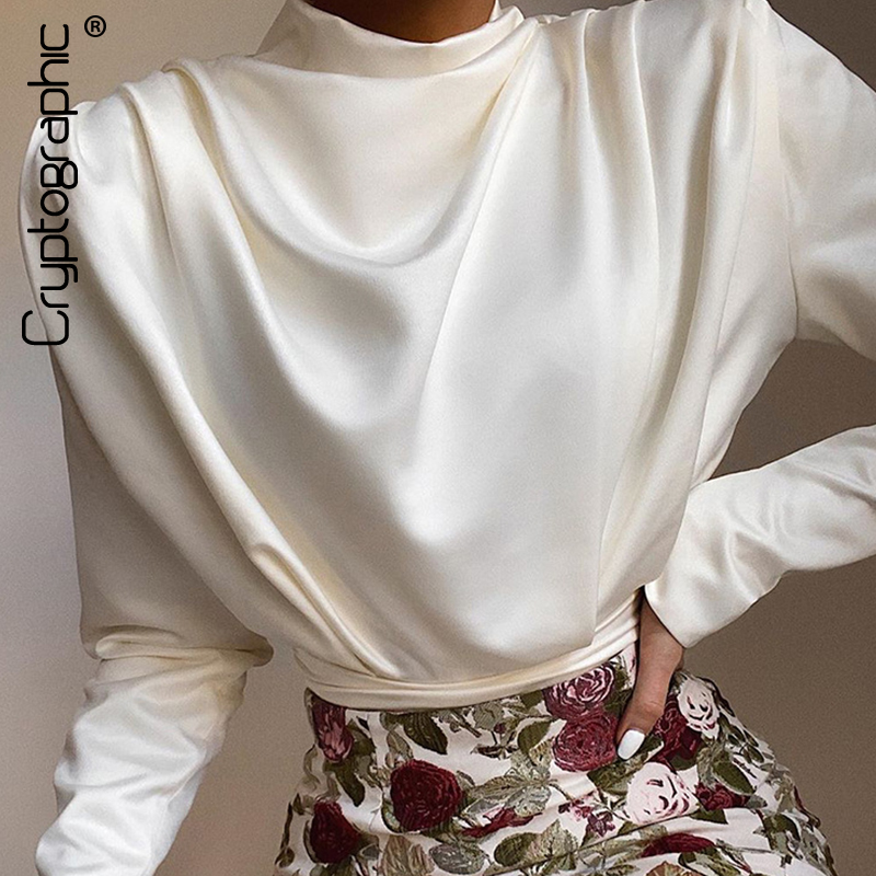Cryptographic Satin Backless Mock Neck Bodysuit Women Tops Spring 2020 Fashion Long Sleeve Party Club Bodysuits Solid Streetwear