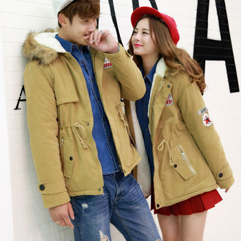 2019New Winter Cotton Padded Jacket Parkas Couple Loose Long Hooded Fur Collar Warm Coats Jacket Thi