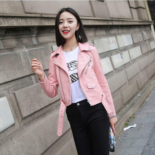 Ftlzz Pu Leather Jacket Women Fashion Bright Colors Black Motorcycle Coat Short Faux Leather Biker Jacket Soft Jacket Female 5