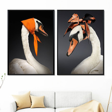 White Swan Orange Silk Scarve Wall Art Print Canvas Painting Nordic Poster And Prints Pictures For Living Room Decor