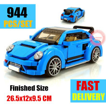 цена на New MOC 944PCS Beetle Car Fit Technic Blue Racing Car Model Fit Legoings Technic Building Block Bricks Kits Kid Gift Toys