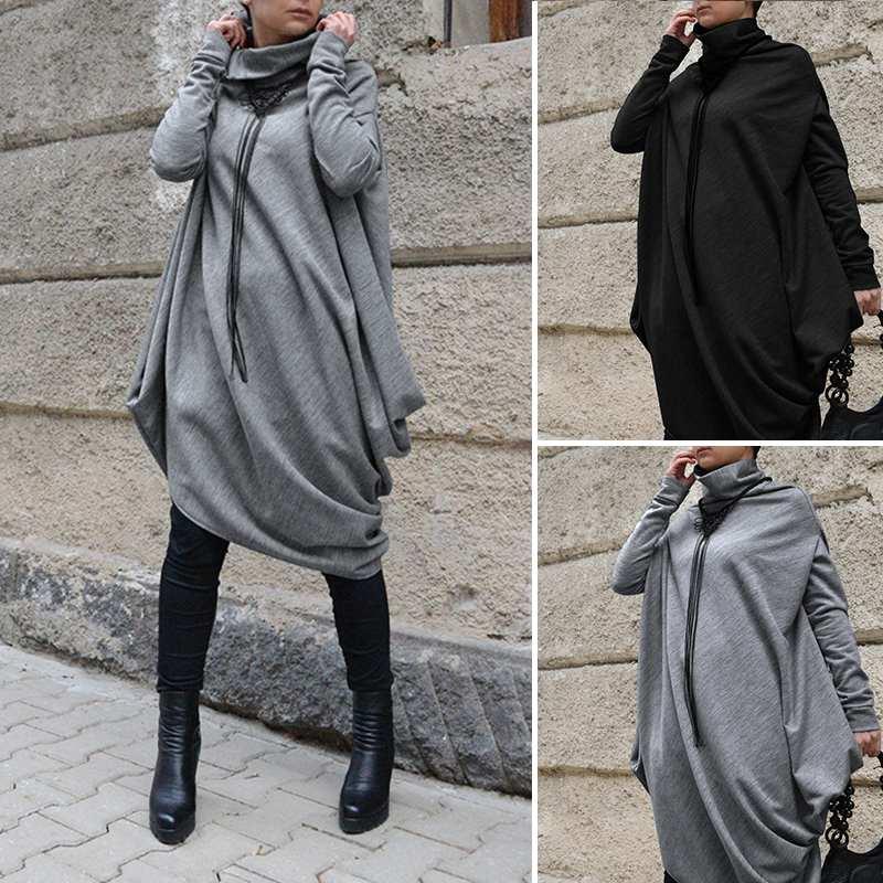 Robe d'hiver grande taille en tricot et col roulé