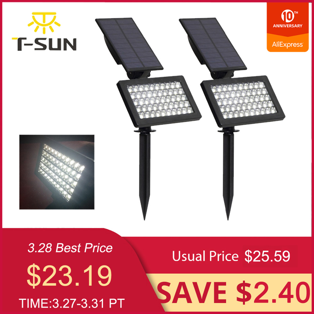 T-SUN 2 PACK 50 Leds Solar Garden Lights Adjustable Led Outdoor Solar Lamp IP44 Waterproof Wall Lighting For Garden/Lawn Light