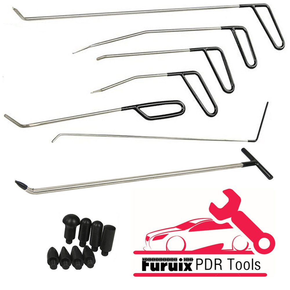 PDR Dent Removal Rods Tools Dent Repair Kit 6 Pcs Rod Hook C & Tap Down With 1pc R1 Push Hooks