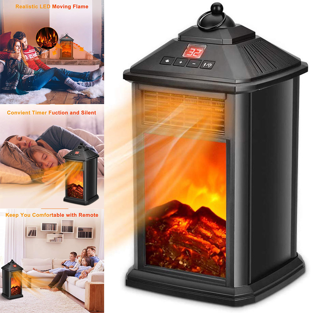 Newest Portable Fireplace Electric Heater 800W With Adjustable Thermostat Overheat Protection