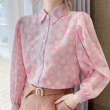 Blusas de moda 2021 blusa feminina manga longa impressão chiffon blusa camisa camisas femininas topos camisas de mujer elegantes d496